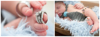 Parents wedding rings on baby toes. Then big sister thought her bracelet should be used too :)